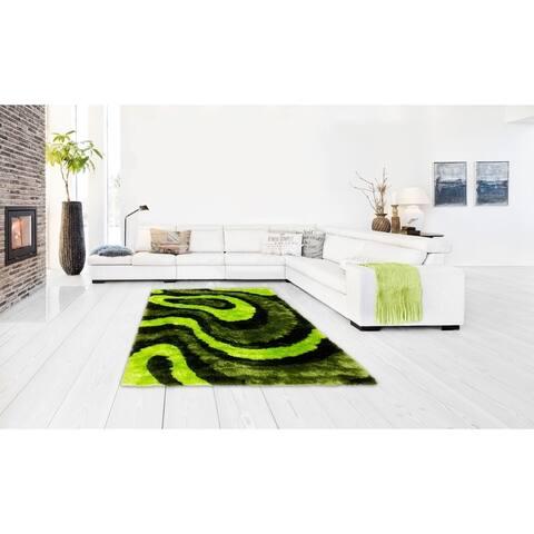 LYKE Home Hand Tufted Green Silkbright Yarn (8' x 11') - 8x11