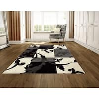 LYKE Home Heat Set Woven Black Two Ply Twisted Yarn Rug