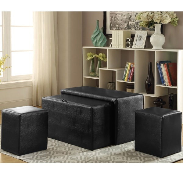 Cole Contemporary 4-piece Nesting Bench and Ottoman Set by FOA