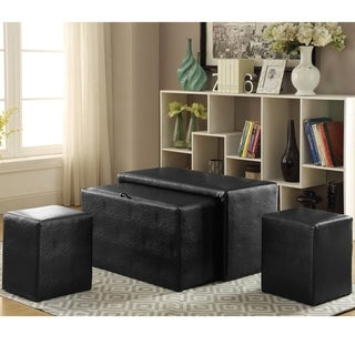 Furniture of America Cole Modern 4-piece Nesting Bench and Ottoman Set