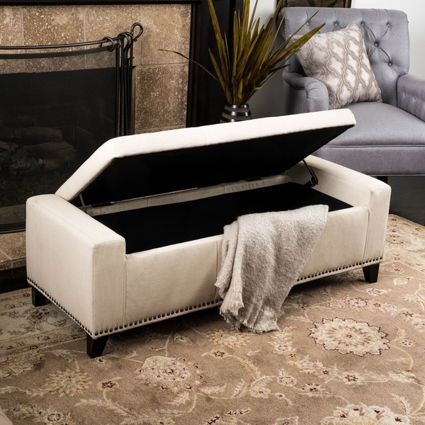 Shop Guernsey Studded Fabric Storage Ottoman Bench By