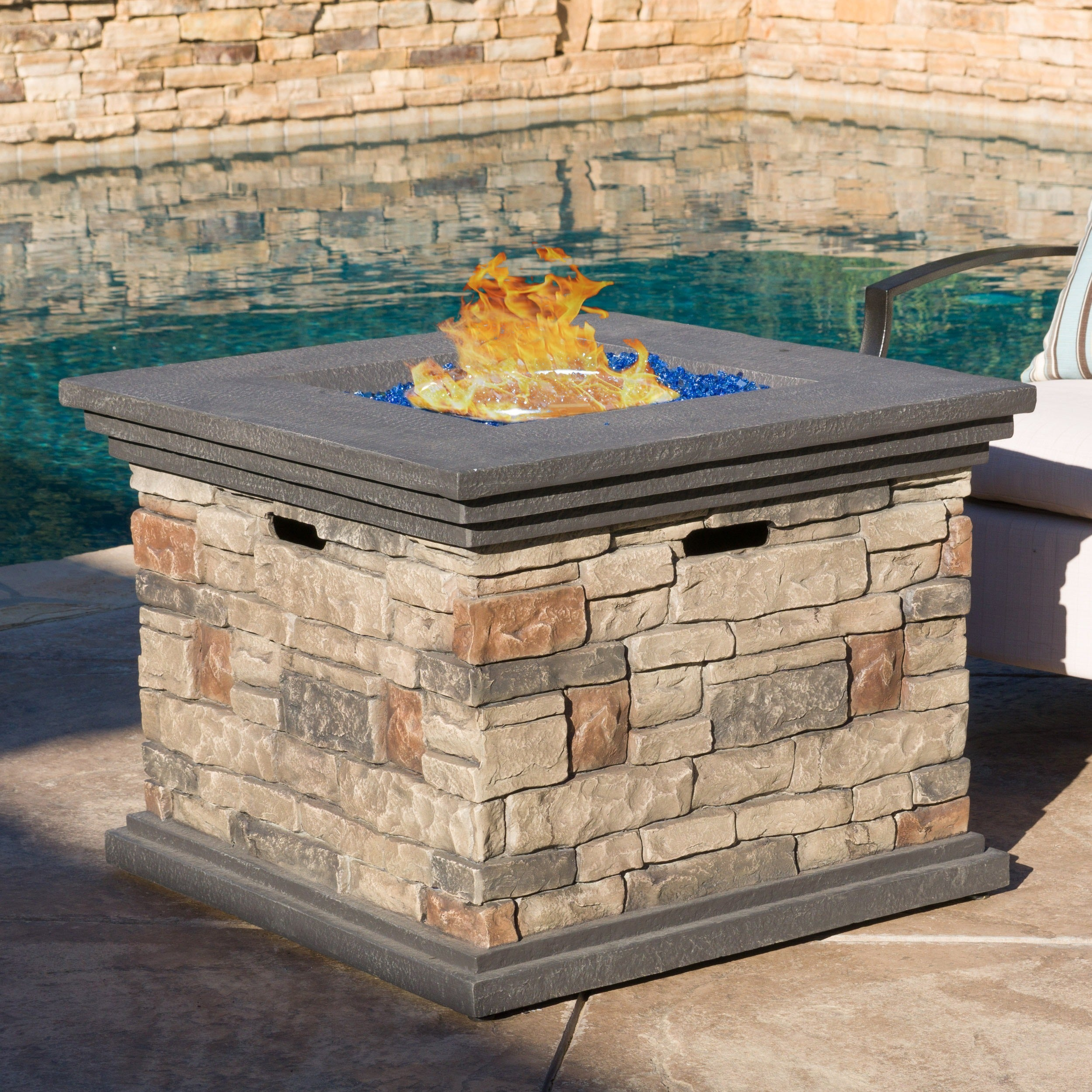 Shop Chesney 32 Inch Outdoor Square Propane Fire Pit With