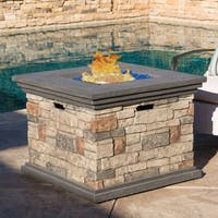 Christopher Knight Home Chesney Outdoor Square Propane Fire Pit with Lava Rocks