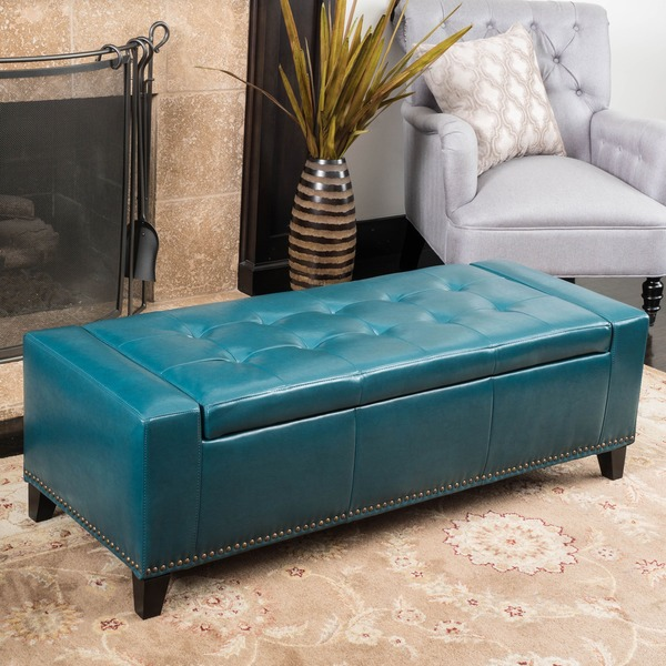 Guernsey Studded Faux Leather Storage Ottoman Bench by Christopher Knight  Home - Guernsey Studded Faux Leather Storage Ottoman Bench By Christopher