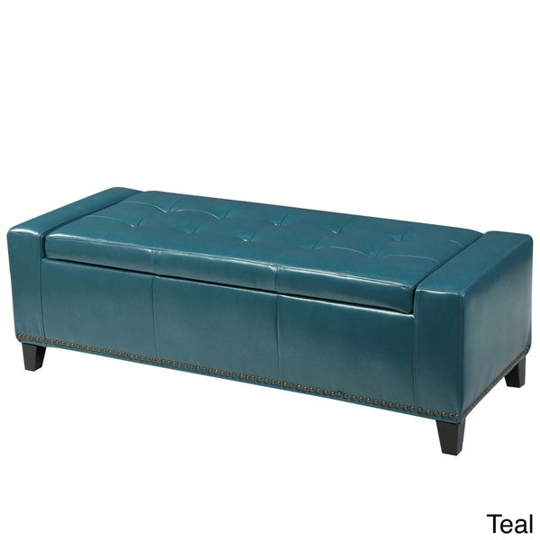 Guernsey Studded Faux Leather Storage Ottoman Bench By Christopher Knight Home Free Shipping Today 18427058