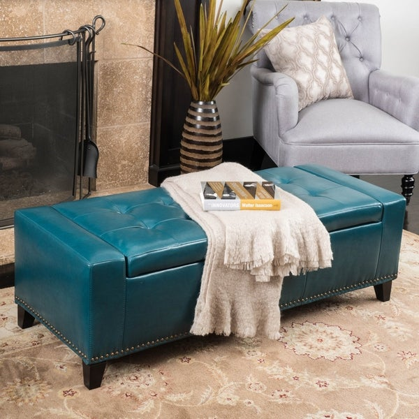 Shop Guernsey Studded Faux Leather Storage Ottoman Bench