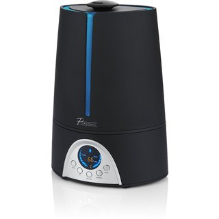 Pursonic HM310 Black Ultrasonic Cool Mist Humidifier with Built-in Ionizer and LED Screen with Digital Humidity Display