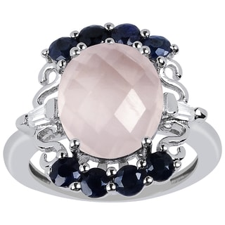 Orchid Jewelry 925 Sterling Silver 5ct Genuine Rose Quartz, Sapphire and Cubic Zirconia Ring