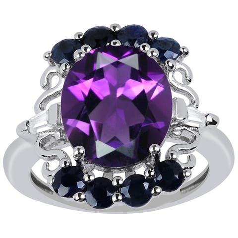 Amethyst, Sapphire, Cubic Zirconia Sterling Silver Oval Cluster Ring by Orchid Jewelry