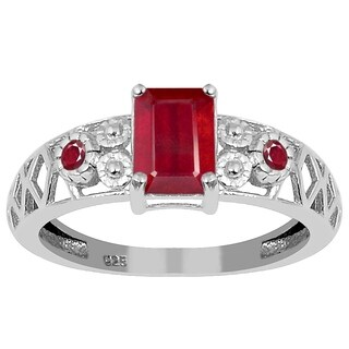 Orchid Jewelry 925 Sterling Silver 1 2/3ct. Octagon-cut Natural Ruby Engagement Ring