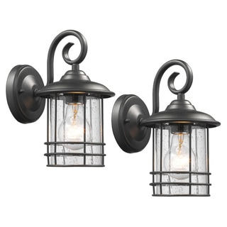 Chloe Transitional 1-light Textured Black Outdoor Wall Lantern 2-pack