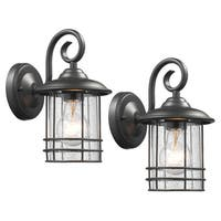 Chloe Transitional 1-light Textured Black Outdoor Wall Lantern (Set of 2)