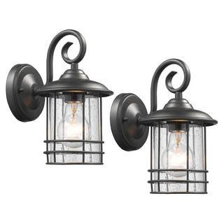Black Outdoor Lighting Fixtures Outdoor wall lighting for less overstock chloe transitional 1 light textured black outdoor wall lantern set of 2 workwithnaturefo