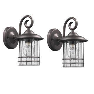 Outdoor wall lighting for less overstock chloe transitional 1 light oil rubbed bronze outdoor wall lantern 2 pack aloadofball Image collections