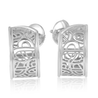 18k White Gold Poiray Wire Heart Framework Earrings