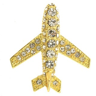 Golden Airplane Brooch