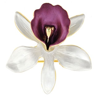 White Orchid Flower Brooch Pin Pendant
