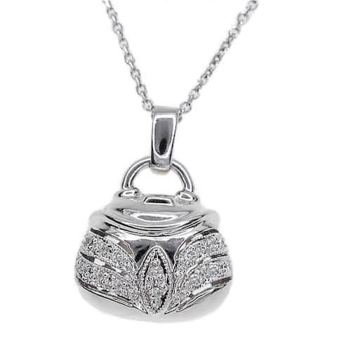 Kabella 14k White Gold Diamond Accent Purse Pendant