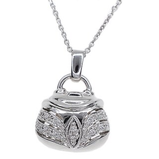 Kabella 14k White Gold Diamond Accent Purse Pendant