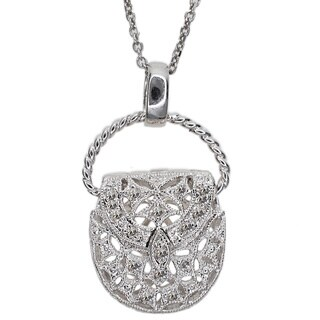 Kabella 14k White Gold 1/10ct TDW Diamond Accent Purse Pendant (G-H, SI1-SI2)