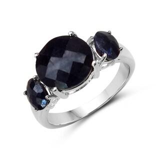 Malaika 14k White Gold over Silver 7 3/4ct TGW Sapphire Ring