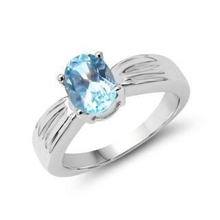 Malaika Sterling Silver 1 5/8ct TGW Blue Topaz Ring