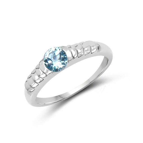 Shop Malaika Sterling Silver 5/8ct TGW Blue Topaz Ring ...