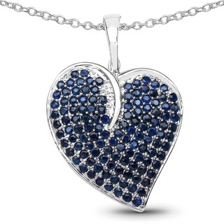Malaika Sterling Silver 5 1/10ct TGW Blue Sapphire Pendant