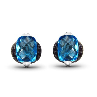 Malaika Sterling Silver 3 3/4ct TGW Blue Topaz and Black Diamond Earrings