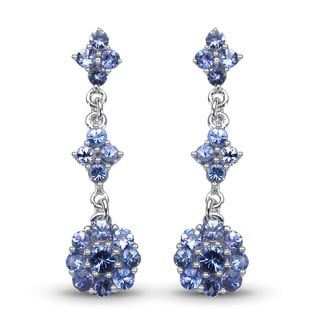 Malaika Sterling Silver 2 3/4ct TGW Tanzanite Earrings