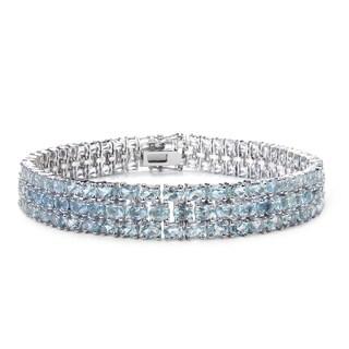 Malaika Sterling Silver 26 1/5ct TGW Blue Topaz Bracelet