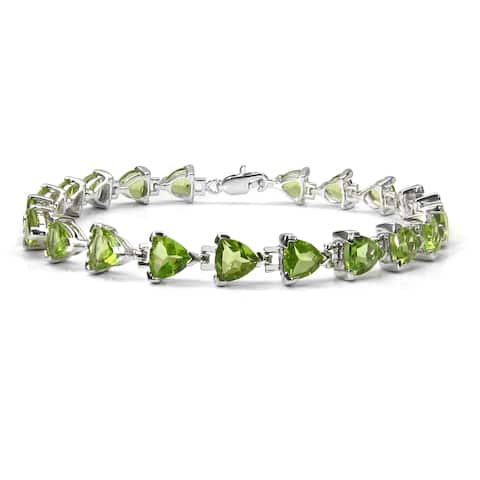 Malaika Sterling Silver 14 3/4ct TGW Peridot Bracelet
