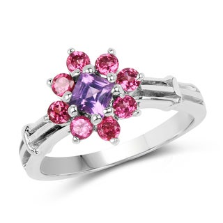 Malaika Sterling Silver 1 2/5ct TGW Amethyst and Rhodolite Ring