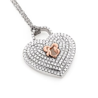 Luxurman 10k Gold 1/3ct TDW Micro Pave Diamond Heart Pendant Necklace (H-I, SI1-SI2)