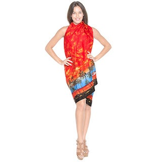 La Leela Likre Cloud Sarong Island Cruise Pareo Palm Tree 78X39 Inches Orange