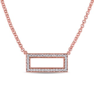 Miadora Rose Plated Sterling Silver Cubic Zirconia Open Space Geometric Rectangle Necklace
