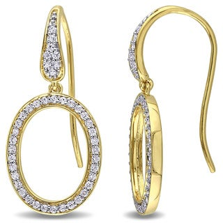 Miadora Yellow Plated Sterling Silver Cubic Zirconia Geometric Oval Drop Earrings
