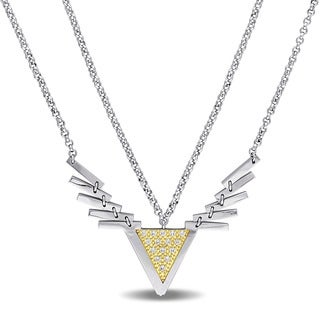 V1969 ITALIA Cubic Zirconia Insignia Necklace in Yellow Plated Sterling Silver