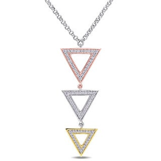 Miadora Tri-color White Yellow and Rose Plated Sterling Silver Cubic Zirconia Geometric Triangle Necklace