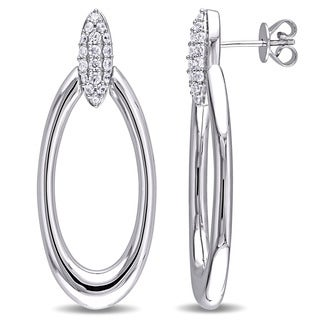 Miadora Sterling Silver Cubic Zirconia Drop Oval Hoop Earrings