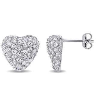 V1969 ITALIA Cubic Zirconia Insignia Heart Stud Earrings in Sterling Silver