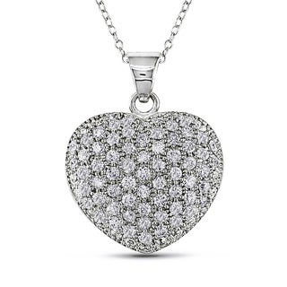 V1969 ITALIA Cubic Zirconia Insignia Heart Necklace in Sterling Silver