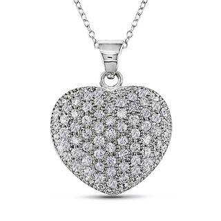 V1969 ITALIA Cubic Zirconia Insignia Heart Necklace in Sterling Silver|https://ak1.ostkcdn.com/images/products/11482597/P18437111.jpg?impolicy=medium