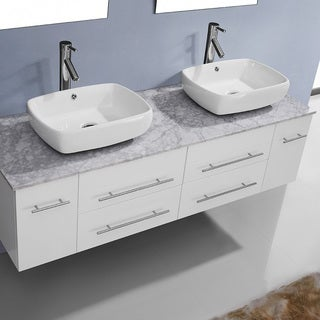 Virtu USA Augustine 59-inch Double Bathroom Vanity Cabinet Set in White