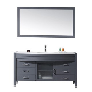 Virtu USA Ava 61-inch Single Bathroom Vanity Cabinet Set in Grey