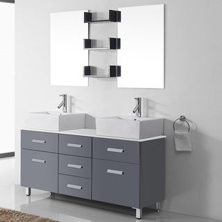 Virtu USA Maybell 56-inch Double Bathroom Vanity Cabinet Set in Grey
