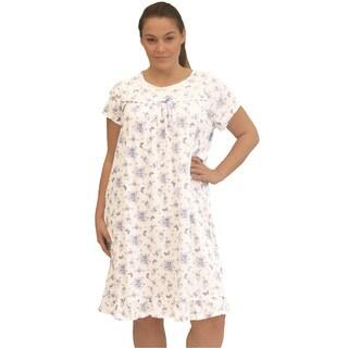 La Cera Women's Plus Size Printed Short Gown