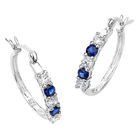 Sterling Silver Sapphire and Cubic Zirconia Hoop Earrings