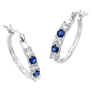 Sterling Silver Sapphire and Cubic Zirconia Hoop Earrings
