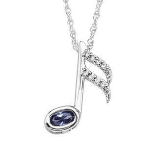 Sterling Silver Cubic Zirconia Musical Note Pendant